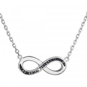 Stříbrný náhrdelník s krystaly Swarovski černé infinity,osmička-nekonečno 32023.5 32023.5 HEMATITE
