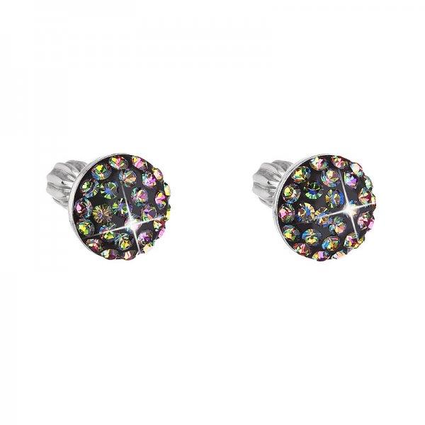 Stříbrné náušnice pecka s krystaly zelené kulaté 731136.5 vitrail medium 731136.5
