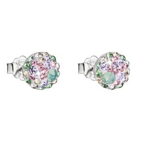 Stříbrné náušnice pecka s krystaly Swarovski mix barev kulaté 31136.3 sakura 31136.3 SAKURA