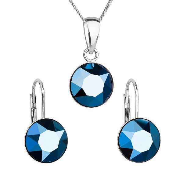 Sada šperků s krystaly Swarovski náušnice, řetízek a přívěsek modré kulaté 39140.5 metalic blue 39140.5 METALIC BLUE
