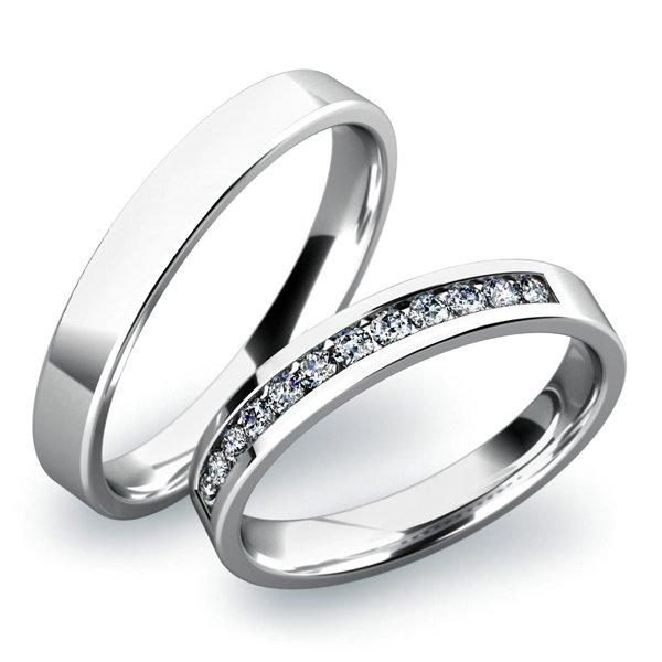 SP-61016 Snubní prsteny z bílého zlata SP-61016B