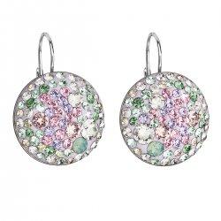 Stříbrné náušnice visací s krystaly Swarovski mix barev kulaté 31161.3 sakura 31161.3 SAKURA