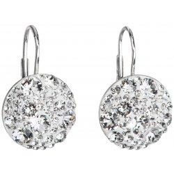Stříbrné náušnice visací s krystaly Swarovski bílé kulaté 31176.1 31176.1 KRYSTAL