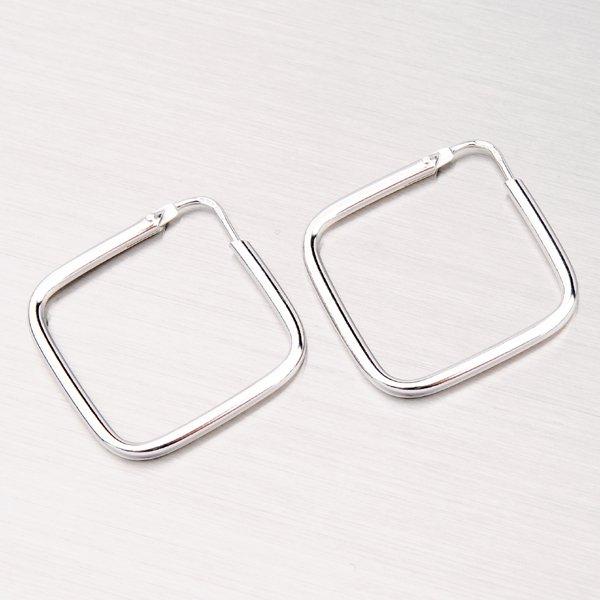 Stříbrné náušnice - čtverce M7672D