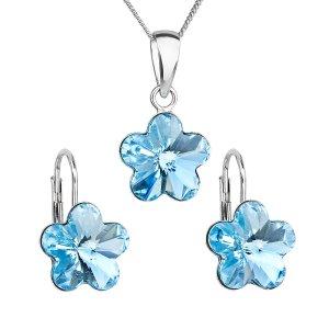 Sada šperků s krystaly Swarovski náušnice, řetízek a přívěsek modrá kytička 39143.3 39143.3 AQUA