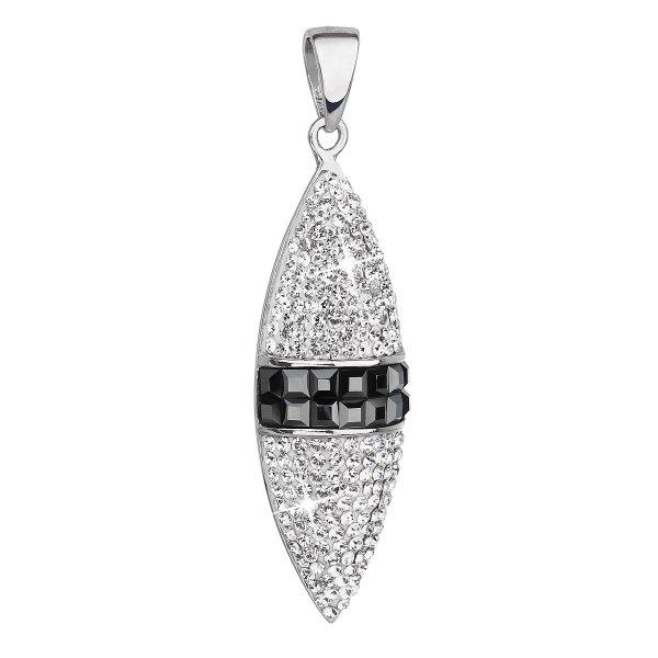 Stříbrný přívěsek s krystaly Swarovski bílý ovál 34188.1 34188.1 KRYSTAL