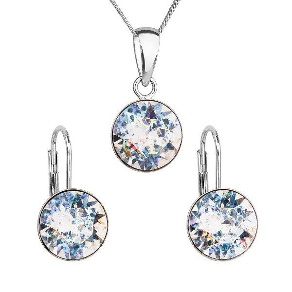 Sada šperků s krystaly Swarovski náušnice, řetízek a přívěsek bílé stříbrné kulaté 39140.5 39140.5 WHITE PATINA