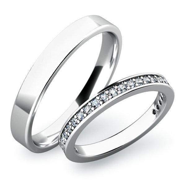 Snubní prsteny z bílého zlata SP-61026B