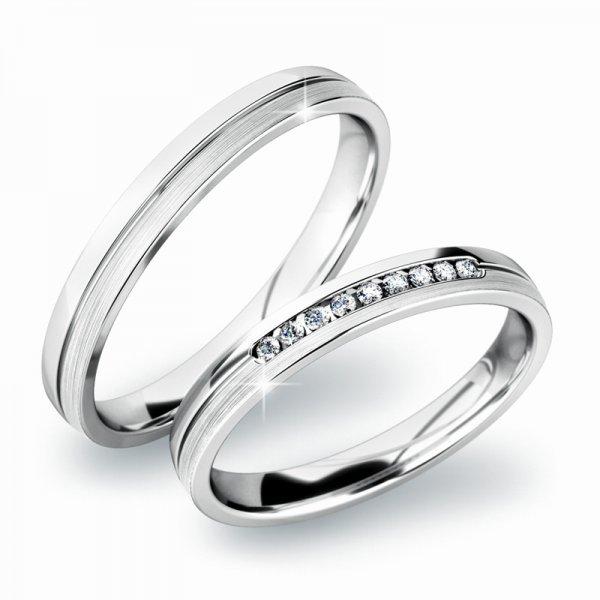 Snubní prsteny z bílého zlata SP-61042