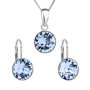 Sada šperků s krystaly Swarovski náušnice, řetízek a přívěsek modré kulaté 39140.3 sapphire 39140.3 LT. SAPPHIRE