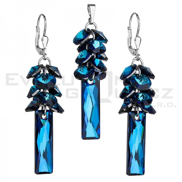 Sada šperků s krystaly Swarovski náušnice a přívěsek modrý hrozen 39124.5 39124.5 BERMUDA BLUE