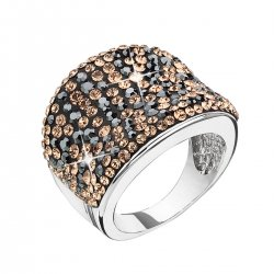 Stříbrný prsten s krystaly Swarovski černo zlatý 35043.4 colorado 35043.4
