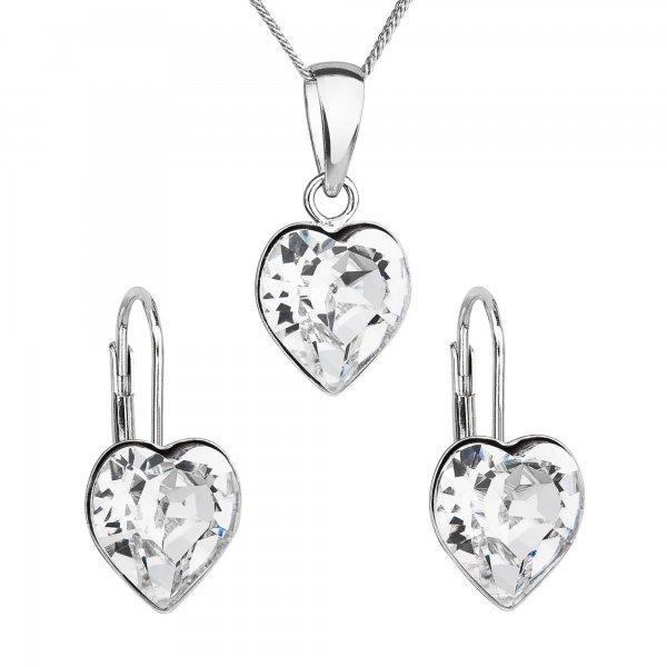 Sada šperků s krystaly Swarovski náušnice, řetízek a přívěsek bílé srdce 39141.1 39141.1 KRYSTAL