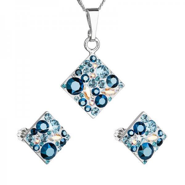 Sada šperků s krystaly Swarovski náušnice a přívěsek modrý kosočtverec 39126.3 aqua 39126.3 AQUA MIX
