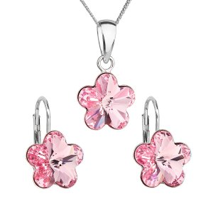 Sada šperků s krystaly Swarovski náušnice, řetízek a přívěsek růžová kytička 39143.3 rose 39143.3 LIGHT ROSE