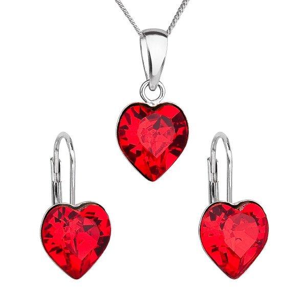 Sada šperků s krystaly Swarovski náušnice, řetízek a přívěsek červené srdce 39141.3 39141.3 LT. SIAM