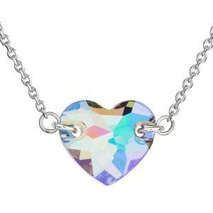 Stříbrný náhrdelník s krystaly Swarovski zeleno-fialové srdce 32020.5 32020.5 PARADISE SHINE