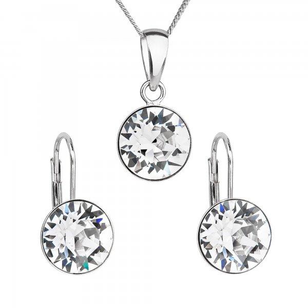 Sada šperků s krystaly Swarovski náušnice a přívěsek bílé kulaté 39140.1 39140.1 KRYSTAL