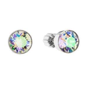 Stříbrné náušnice pecka s krystaly Swarovski zelené kulaté 31113.5 31113.5 PAR. SHINE