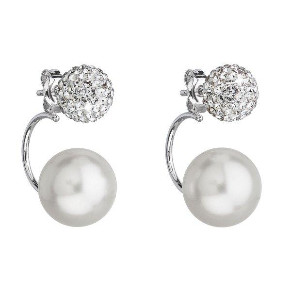 Stříbrné náušnice dvojité s krystaly Swarovski bílé kulaté 31179.1 31179.1 KRYSTAL