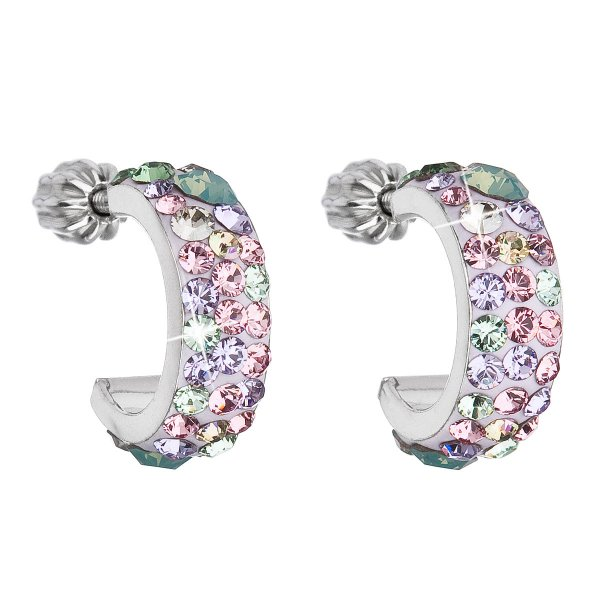 Stříbrné náušnice kruhy s krystaly Swarovski mix barev půlkruh 31118.3 Sakura 31118.3 SAKURA