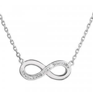 Stříbrný náhrdelník s krystaly Swarovski bílé infinity,osmička-nekonečno 32023.1 32023.1 KRYSTAL