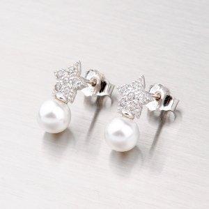 Náušnice s perlou a zirkony YNG2047