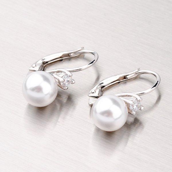 Stříbrné náušnice s perlou a zirkony YNG2057