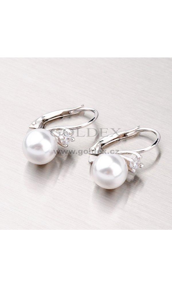 Stříbrné náušnice s perlou a zirkony YNG2057   Goldex.cz 016d94ed06c