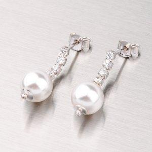 Stříbrné náušnice s perlou a zirkony YNG2055