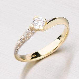 Zlatý prsten se zirkony GZ2101
