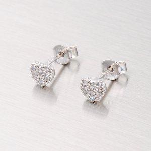 Stříbrné pecky se zirkony - srdce YNG2067