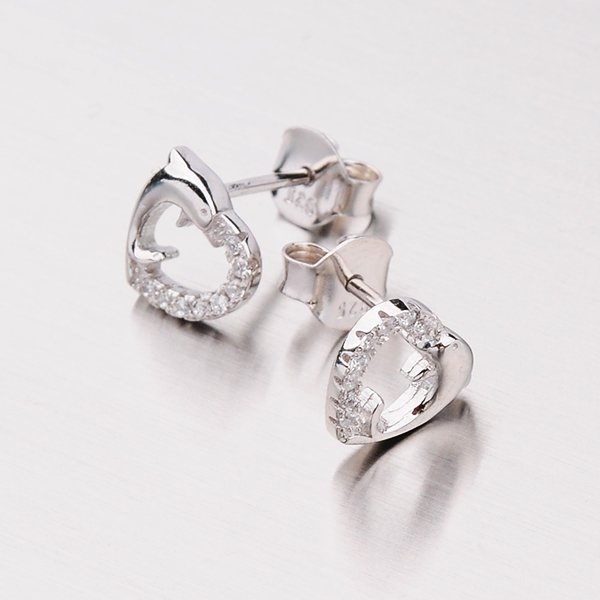 Stříbrné pecky - delfíní srdce EXX14160104