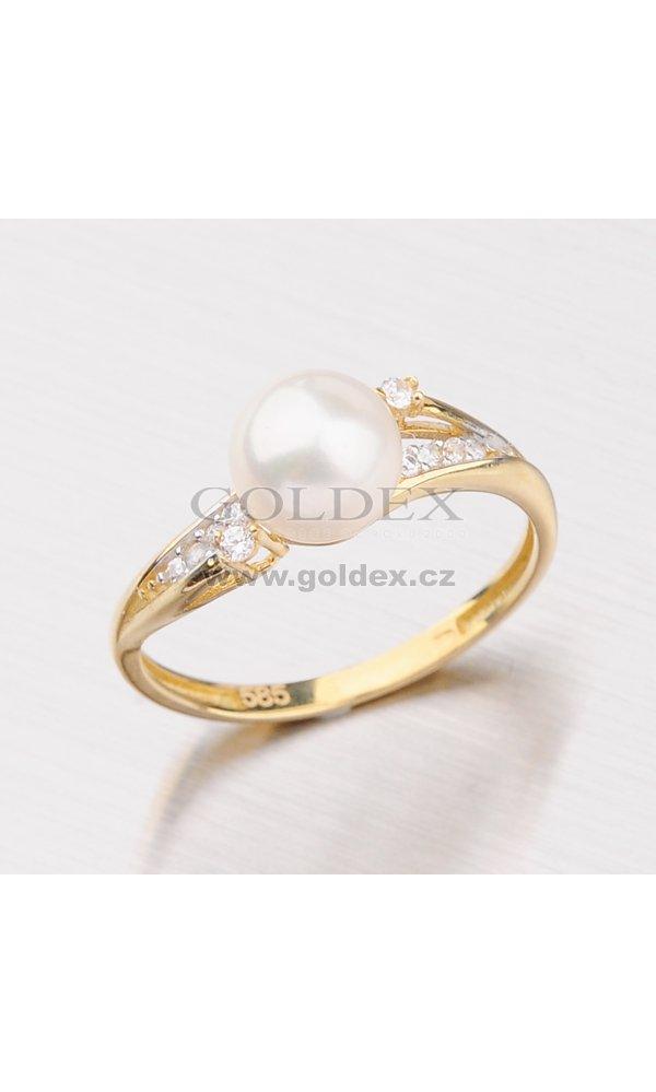 a2d7ce7f5 Zlatý prsten s perlou a zirkony 115-4091 : Goldex.cz