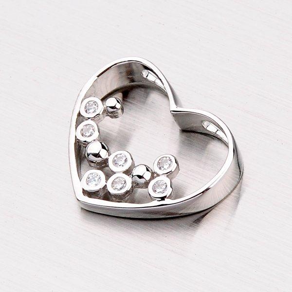 Stříbrné srdce se zirkony PXX01160147
