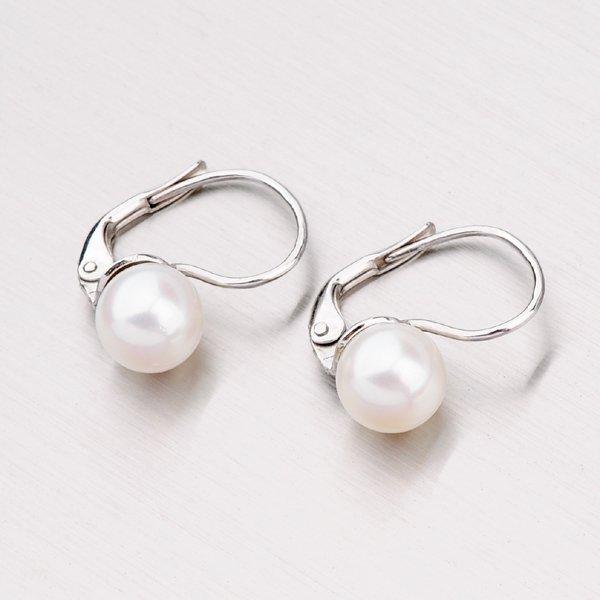 Náušnice s perlou z bílého zlata 458-5040