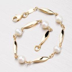 Zlatý náramek s perlami 44-1711