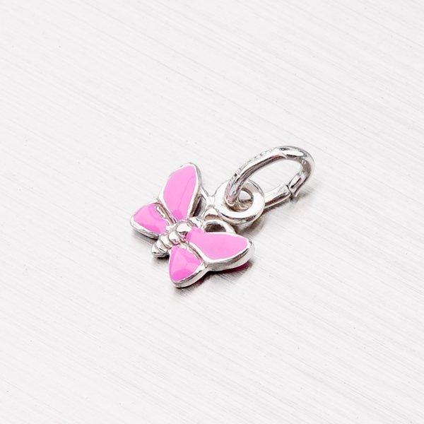 Stříbrný přívěsek - růžový motýl M570916SM-RU