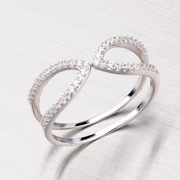 Stříbrný prsten se zirkony SR51500101