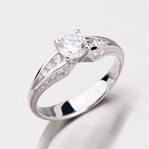 Dámský prsten z bílého zlata se zirkony GZ2103B