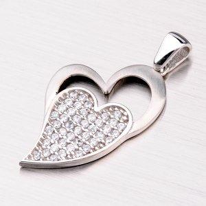 Stříbrné srdce se zirkony ZS-023-OKS
