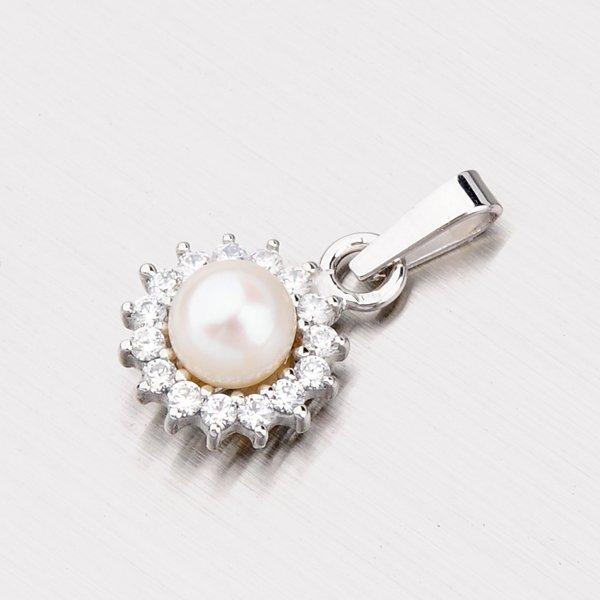 Zlatý přívěsek s perlou a se zirkony 357-0104