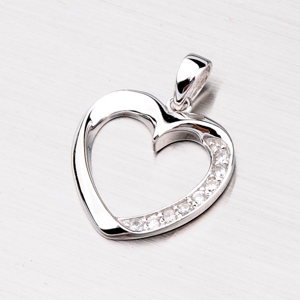 Stříbrné srdce se zirkony PXX01160139