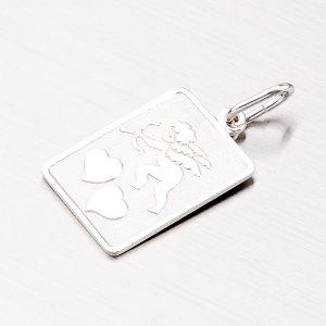 Stříbrný přívěsek - destička s amorkem M54610