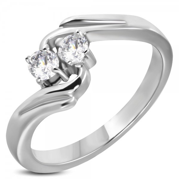 Prsten se zirkony z oceli GZRC086