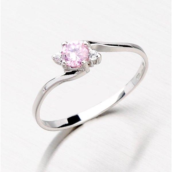 Prsten s růžovým zirkonem 356-0106R