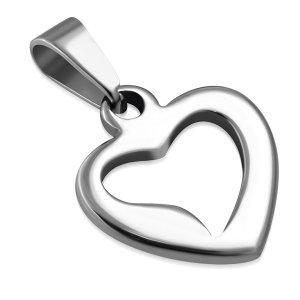 Ocelový přívěsek - srdce GPPP122
