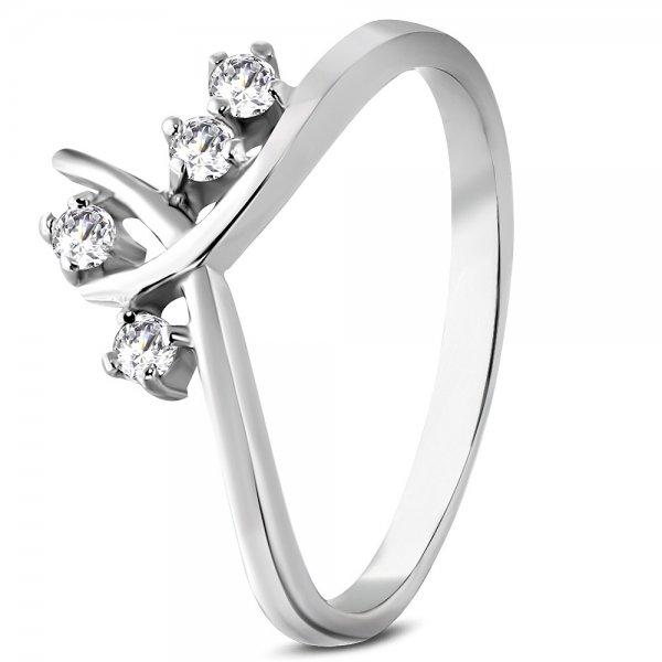 Prsten z oceli se zirkony GRCZ088