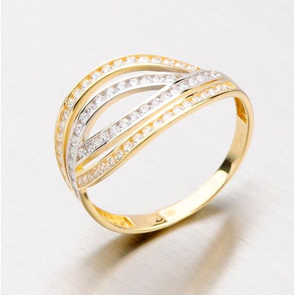 Zlatý prsten se zirkony 111-6106