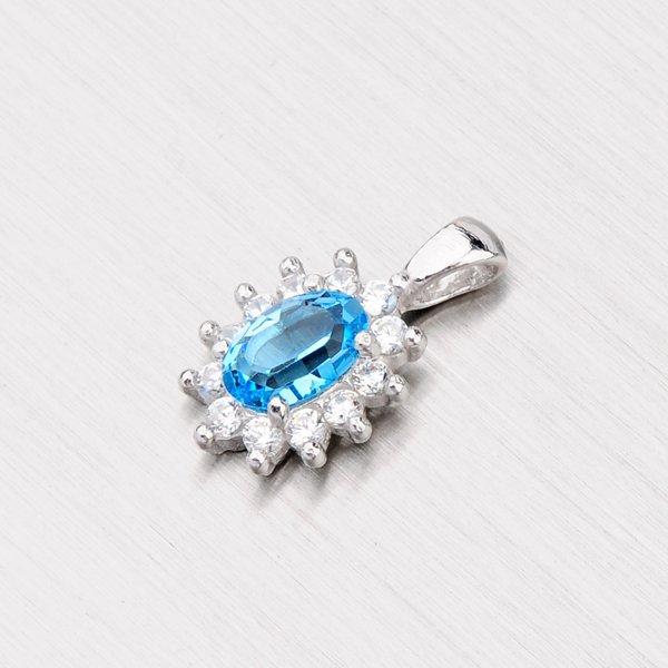 Stříbrný přívěsek s modrým zirkonem YNG3073